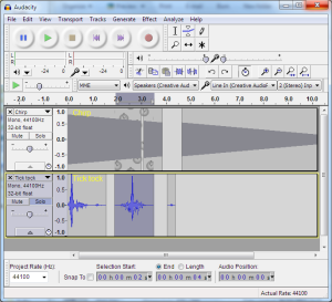 A screenshot of the user interface in Audacity