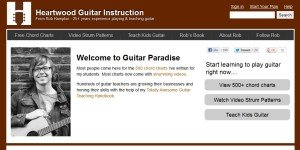 A screen shot of the home page for Heartwood Guitar Instruction