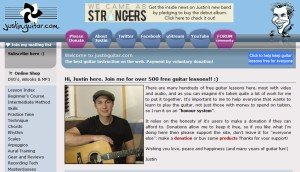 A screen shot of the home page at Justin Guitar