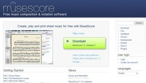A screen shot of Musescore's home page