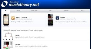 A screen shot of the home page for MusicTheory.net
