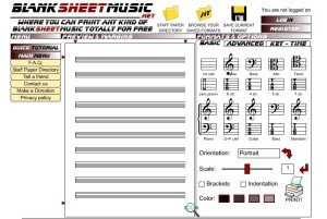 A screenshot of the home page for Blank Sheet Music