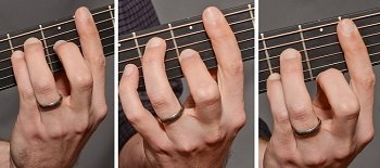 Correct hand positions for bar chords on the guitar