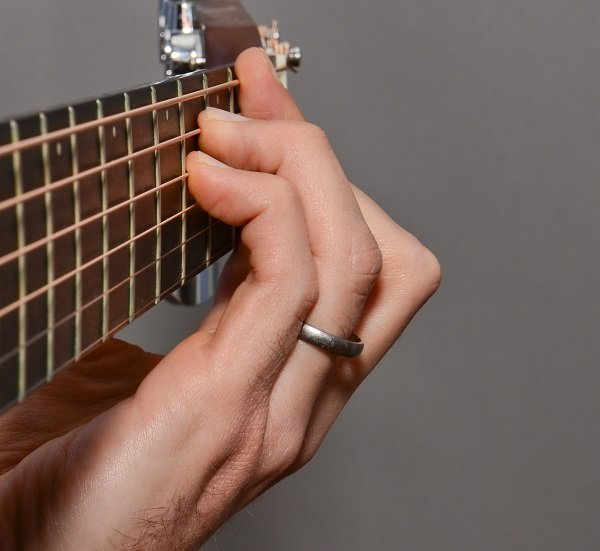 The F# bar chord from the side