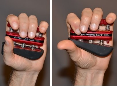 Exercise using the gripmaster with lower part of fingers