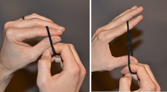 Exercise using a hair tie for the fingers