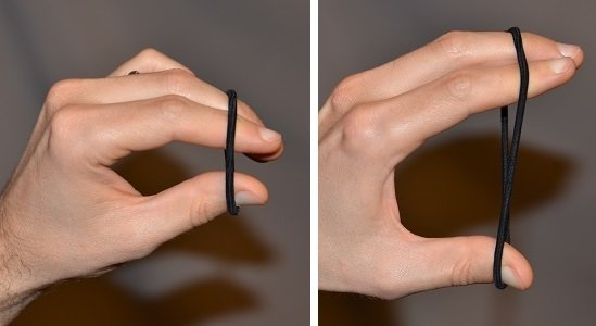 Exercise using a hair tie for the thumb