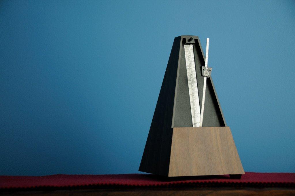 A metronome on a desk